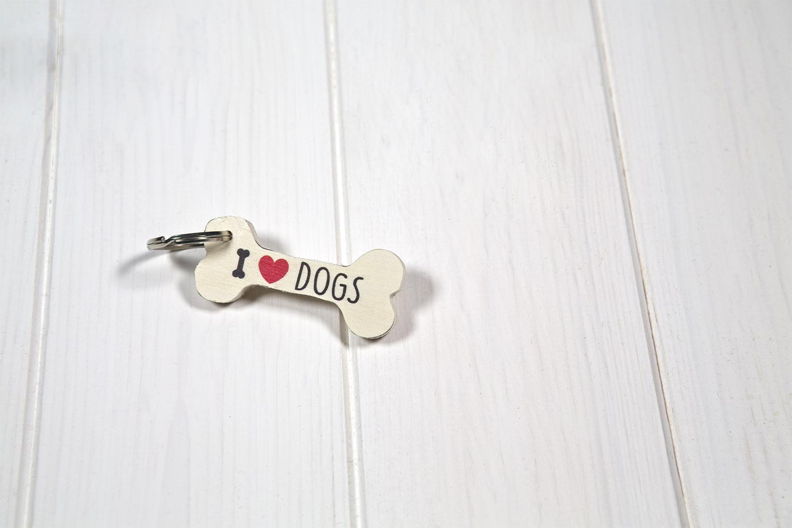 Portachiavi Di Legno Sagoma Osso Cane - I Love Dogs