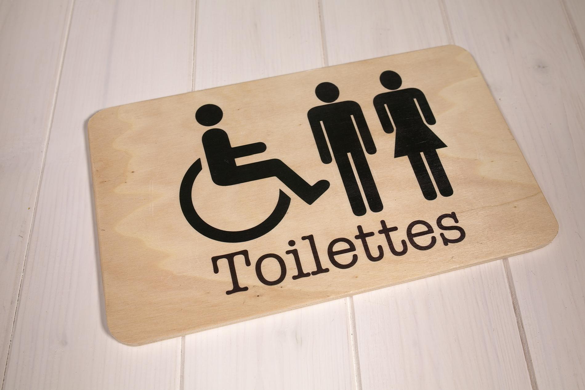 Insegne Di Legno - Toilettes Uomo Donna Handicap