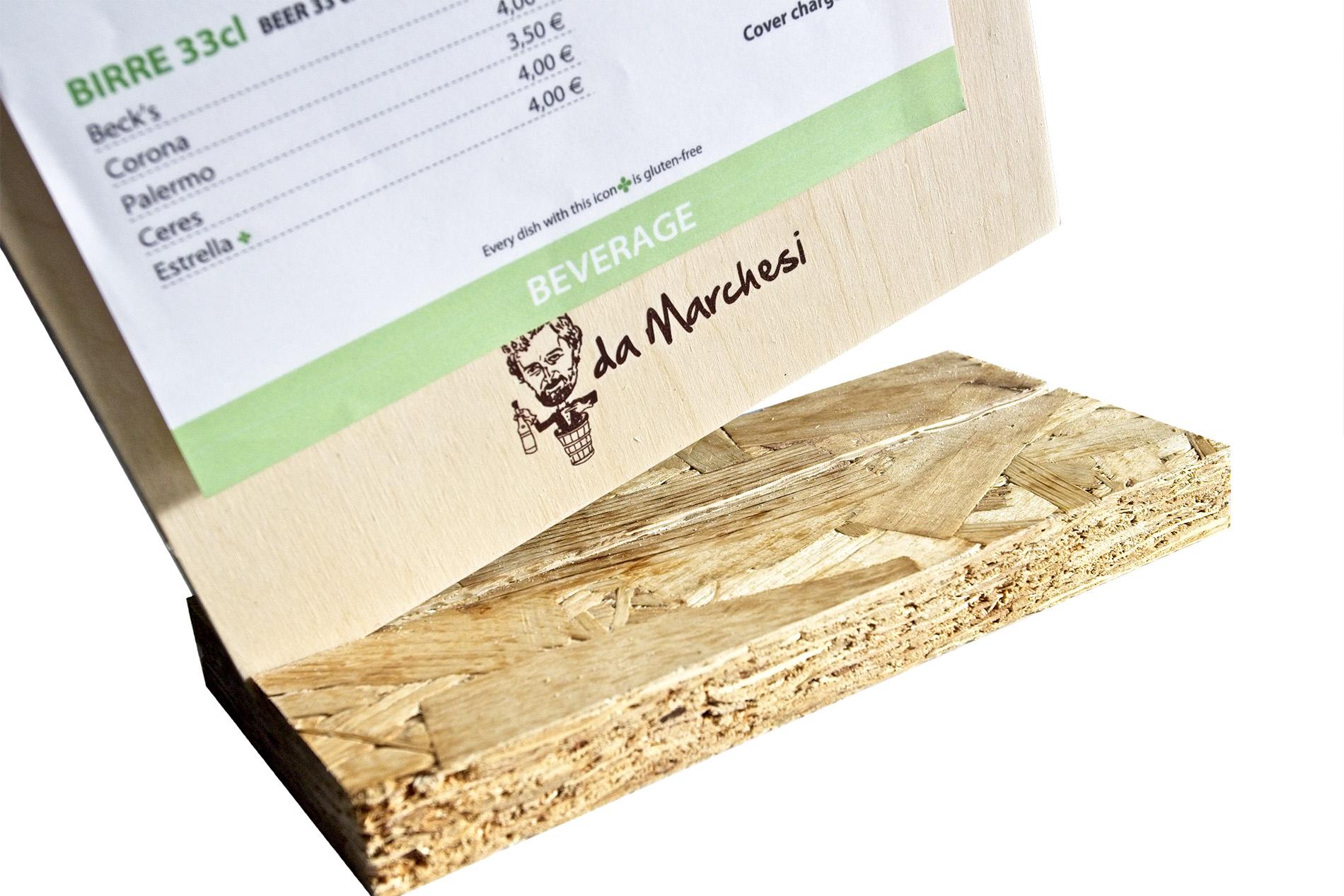 Portamenu Clipboard Block-notes Con Clip Molla In Legno