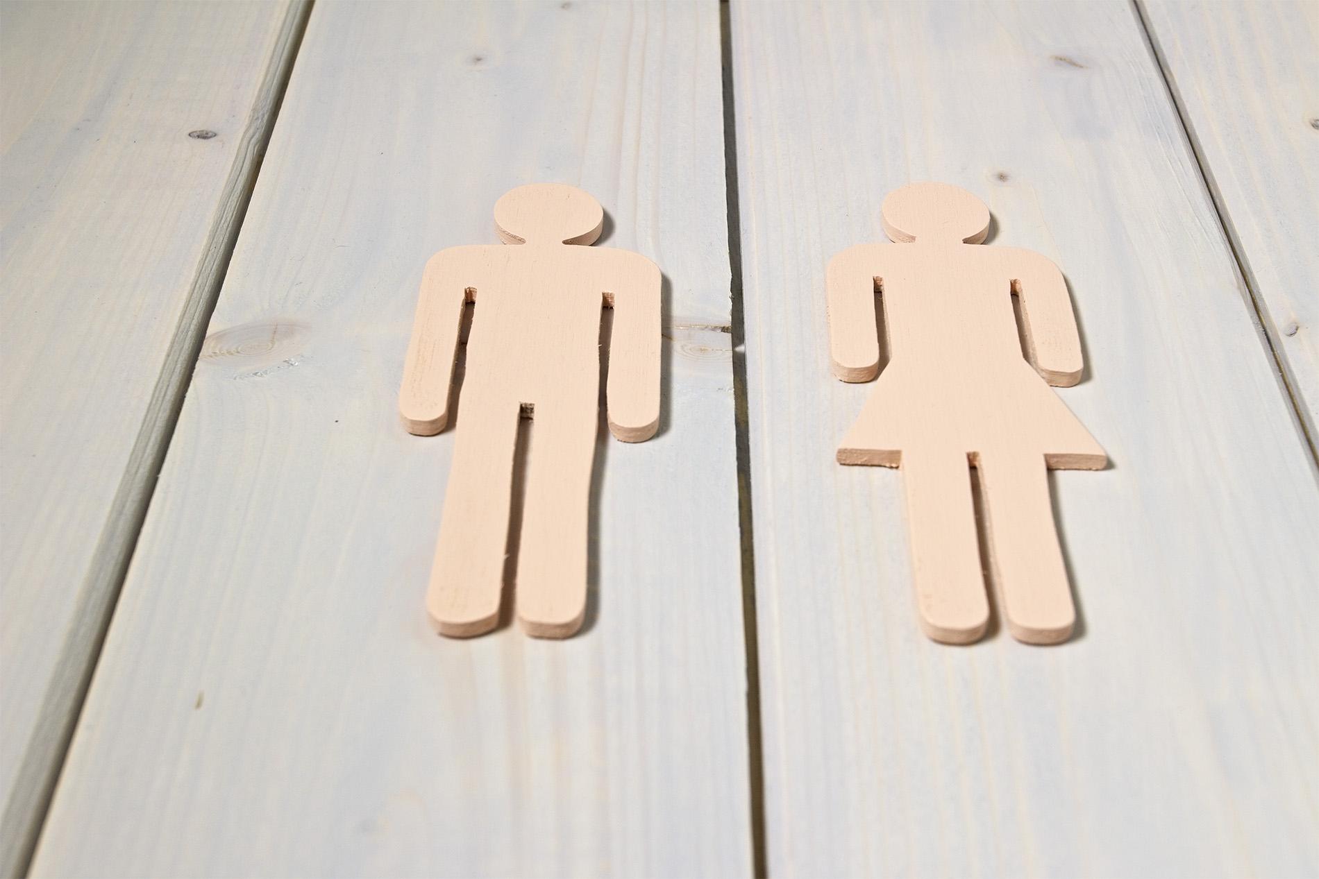 Segnaletica Per Locali Di Legno - WC Toilettes Uomo Donna