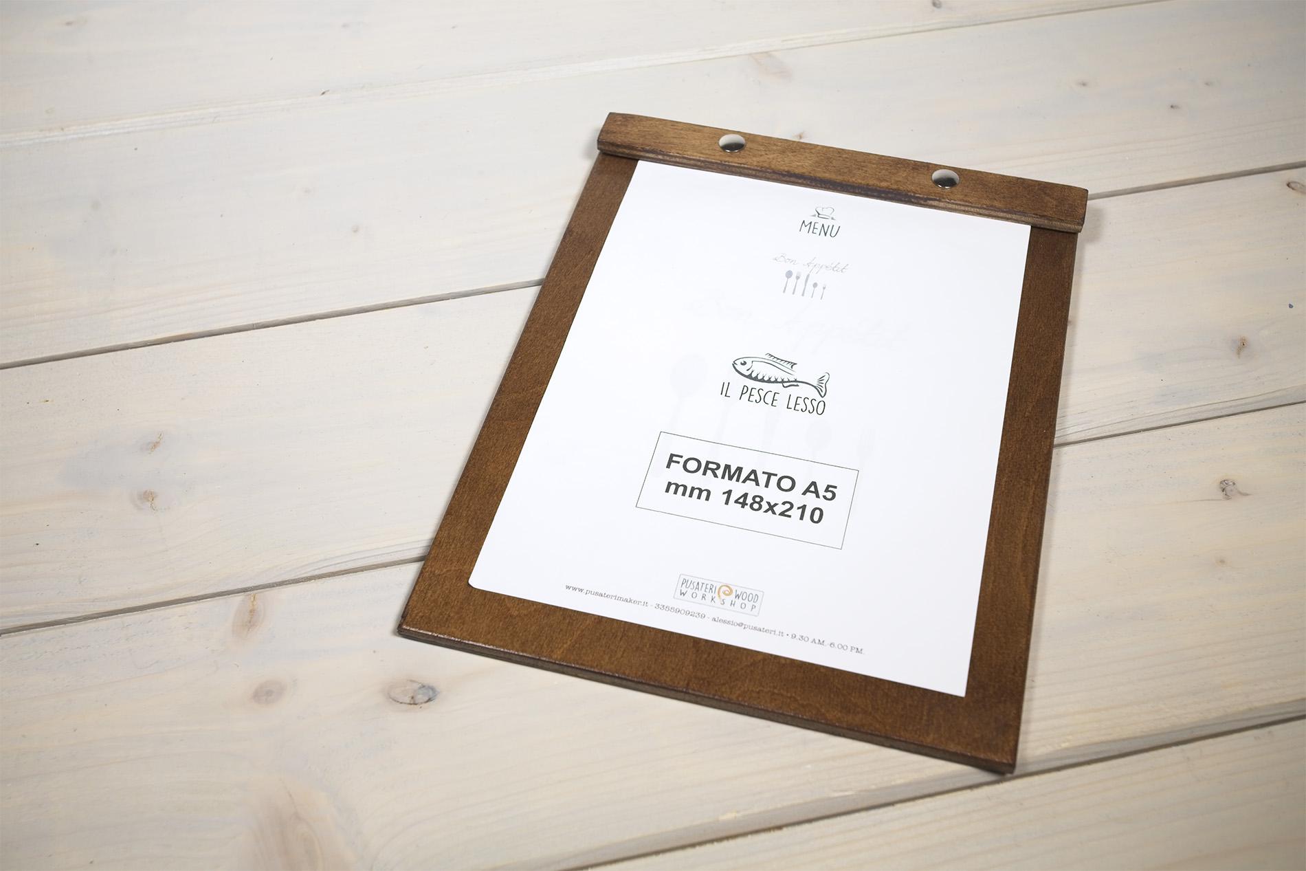 Oreto portamenu A5 in legno con cornice