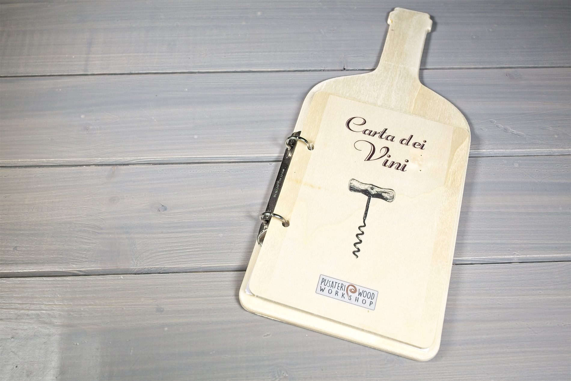Carta Dei Vini Legno Forma Di Bottiglia