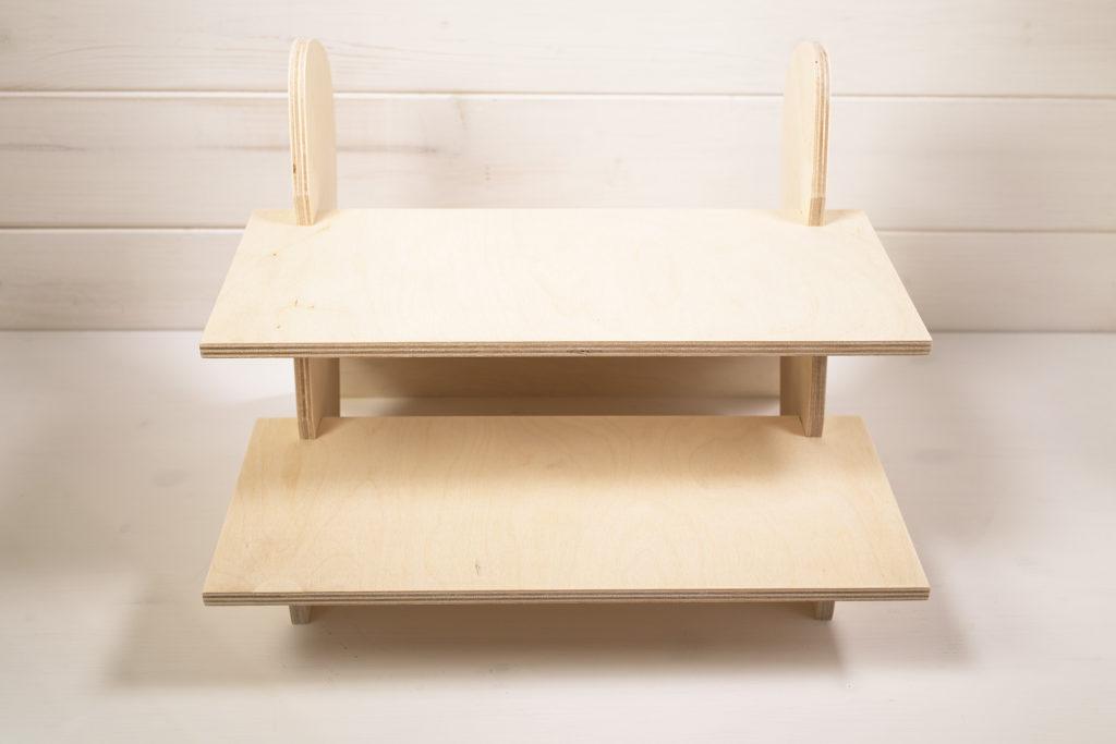 Espositore da tavolo a 2 ripiani betulla naturale