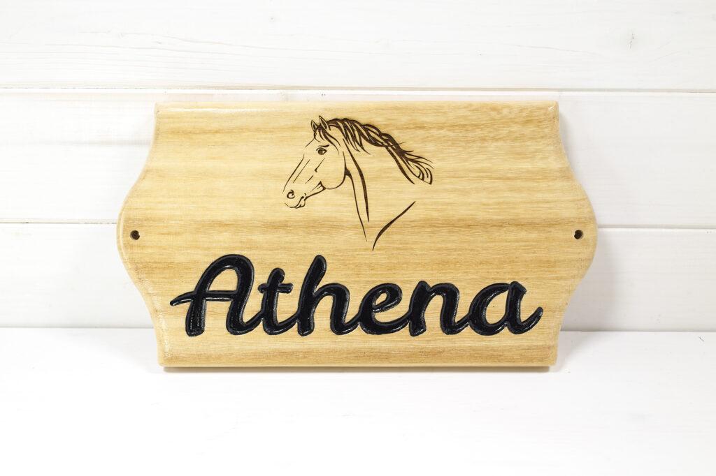 Targa box cavallo maneggio Athena