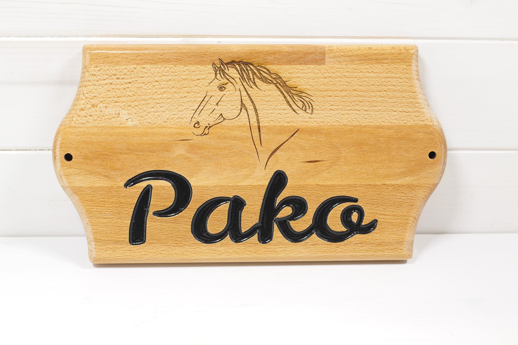 Targa Box Cavallo Pako Legno Faggio
