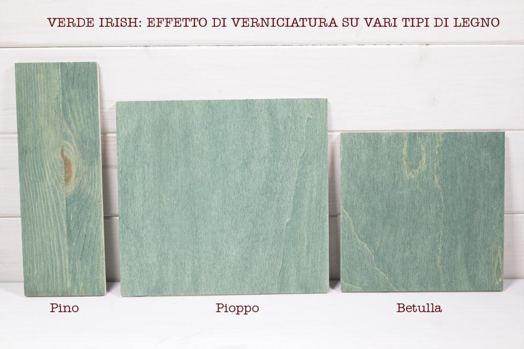Colore Verde Irish su vari tipi di legno