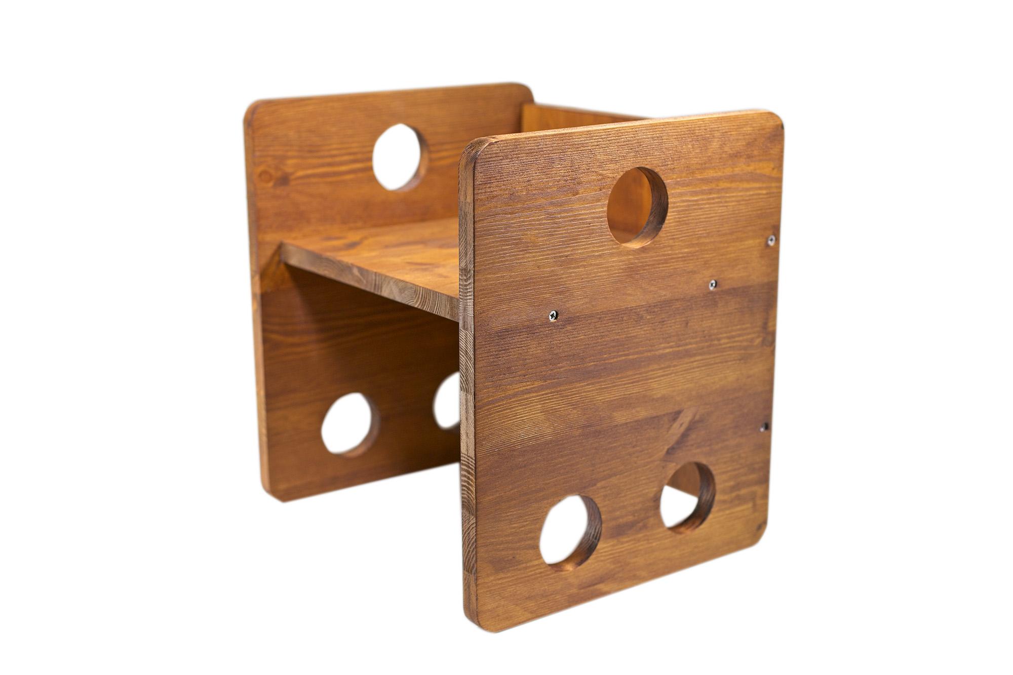 Sedia Cubo Stile Montessori Noce
