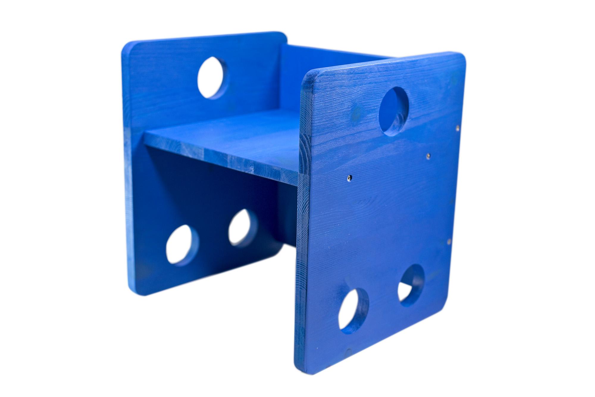 Sedia Cubo Stile Montessori Blu